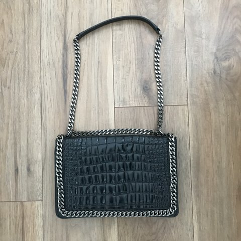 13f5a4a796 @_helenaedwards. 5 months ago. Sale, United Kingdom. ZARA black embossed  croc effect leather and chain city bag ...