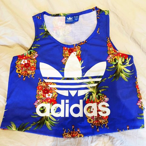 9b7caf4fb0e Adidas royal blue pineapple/ floral print crop top bought 8 - Depop