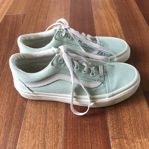 cc9355c0a5e Pastel green old school vans in great condition. Worn a few - Depop