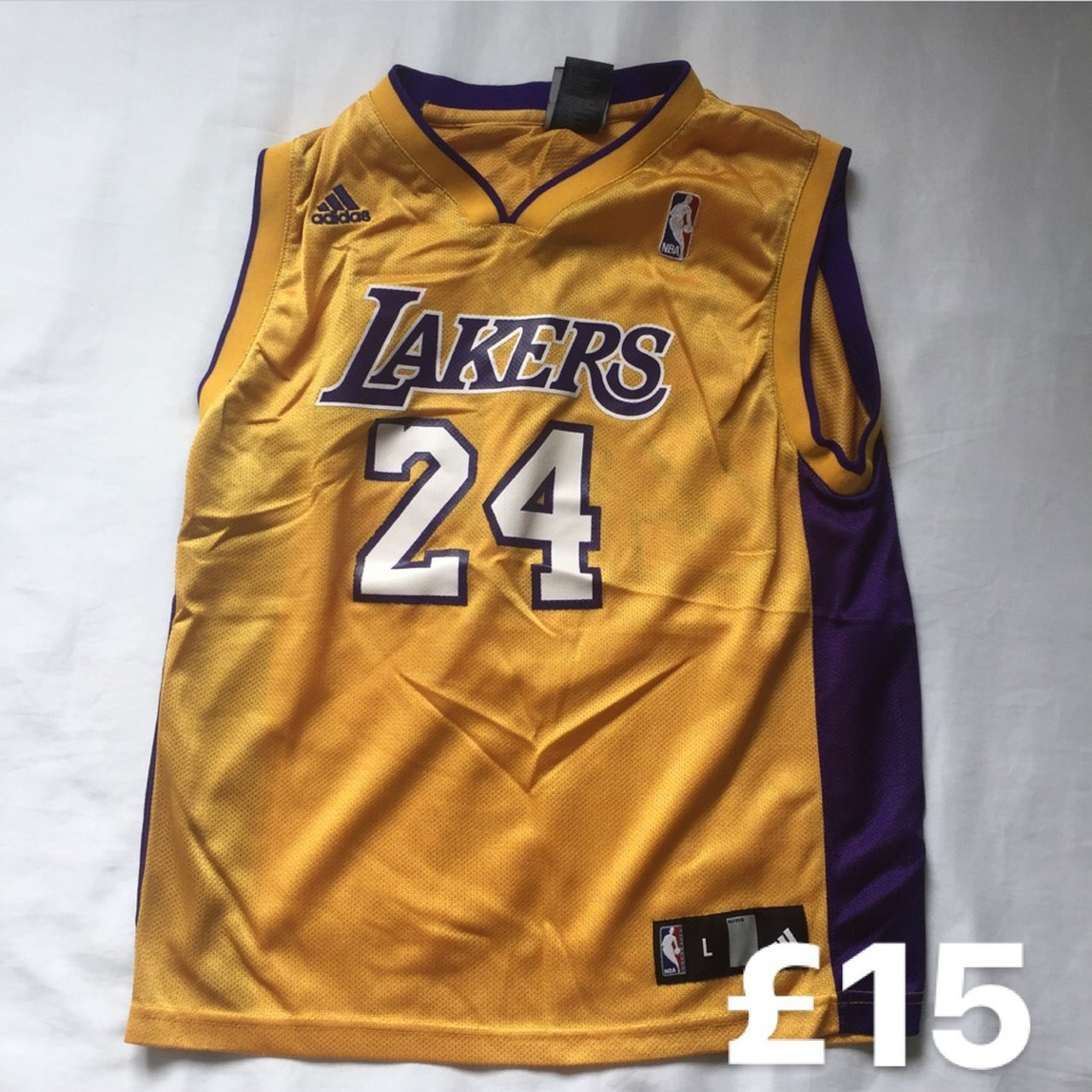 5b761003932 @mattslocker. 6 months ago. Stevenage, United Kingdom. Retro Kobe Bryant 24:  CLASSIC NBA LA Lakers Home Jersey: Size Youth L (Fits Men ...