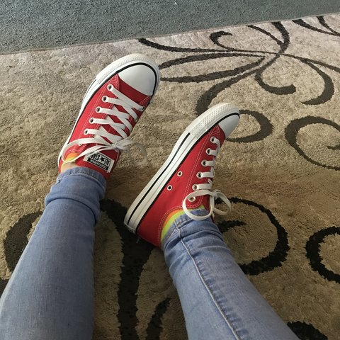 5783c16d1645 Bright red converse shoes. Literally only worn like twice. 7 - Depop