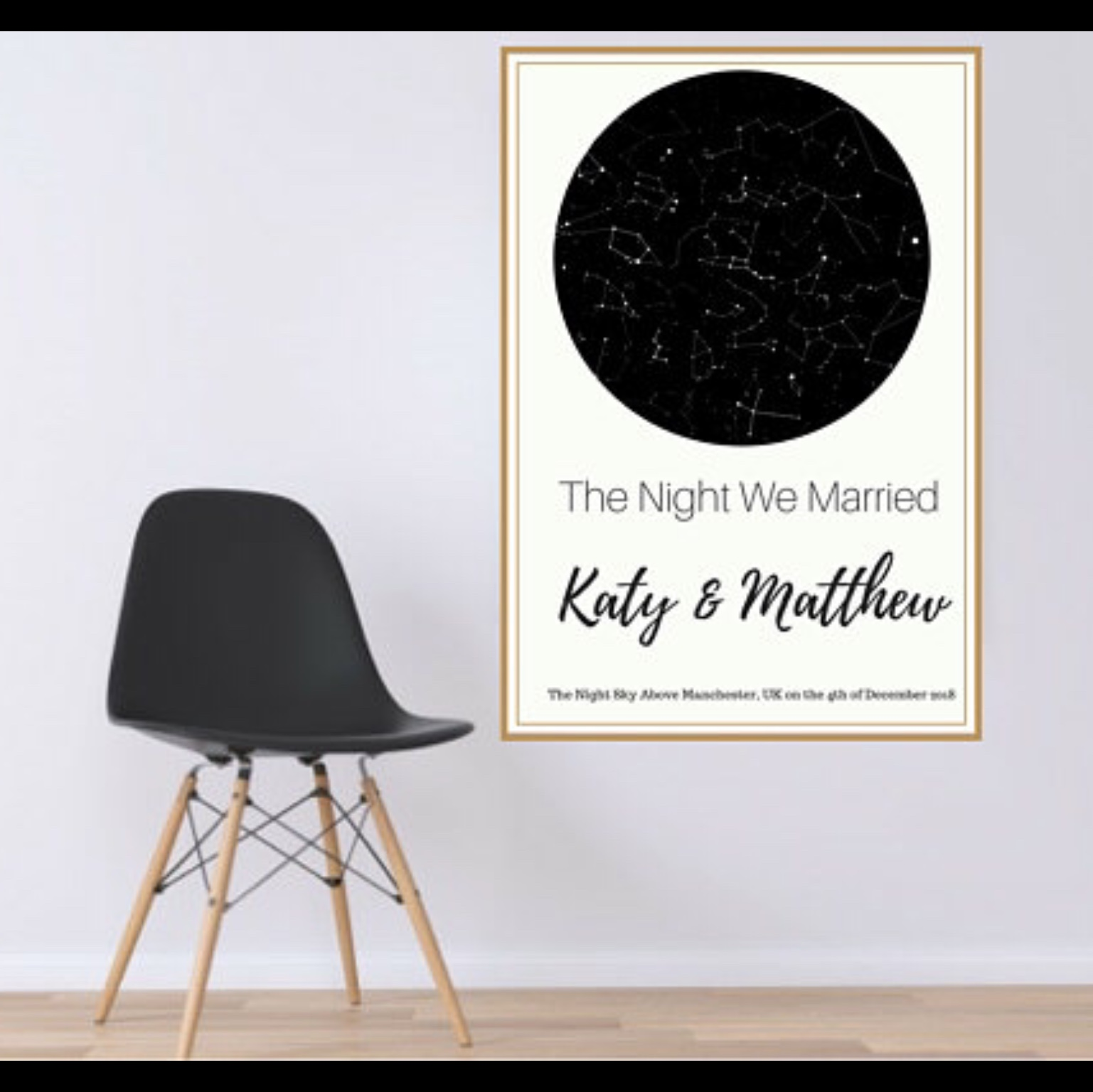 Star Map Poster Customised to your time and date    - Depop