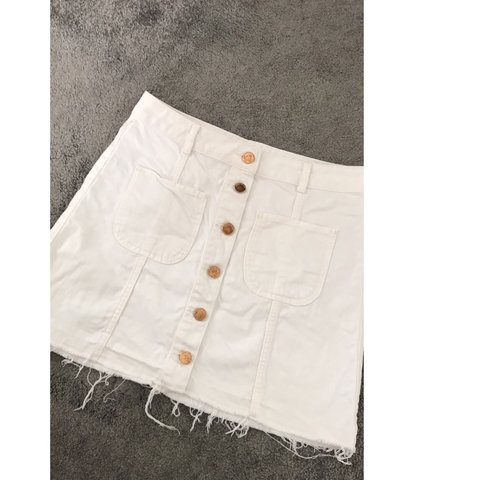 a811f5b58 RIVER ISLAND white denim skirt with gold buttons down the a - Depop