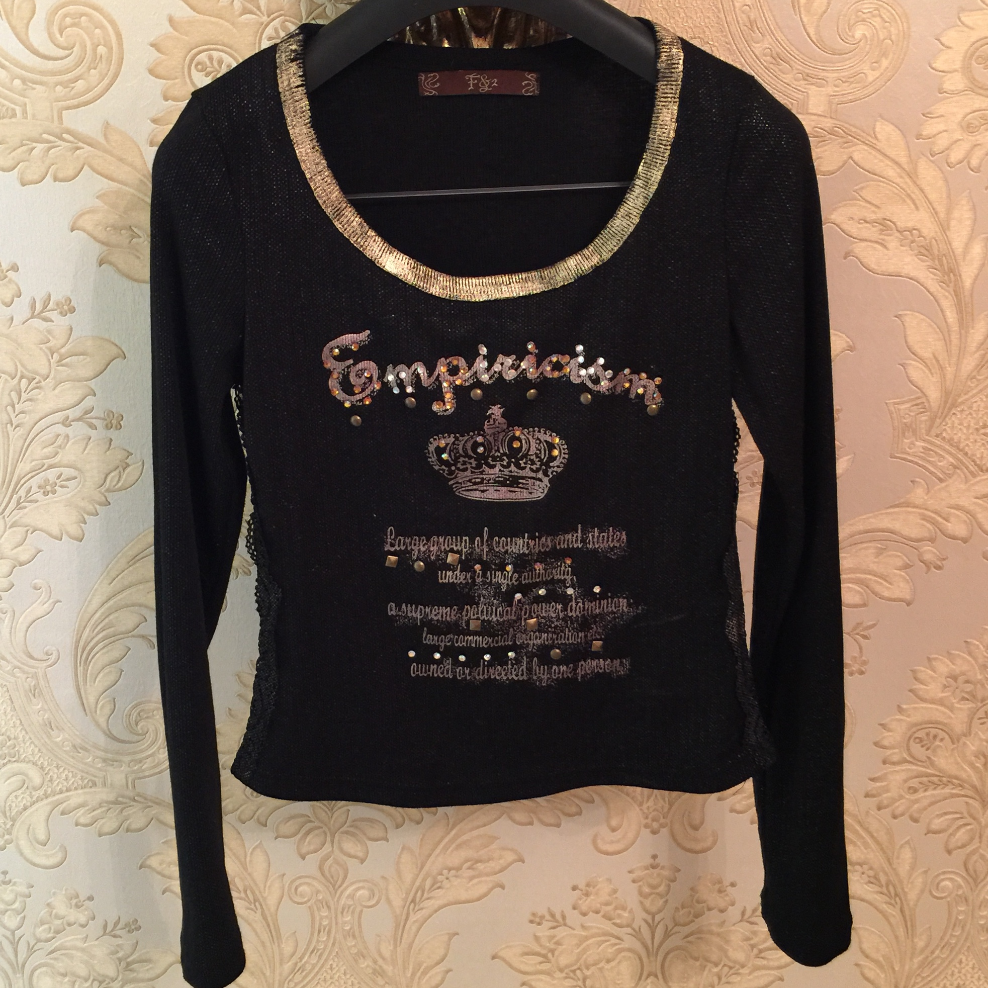 French boutique Y2K brand long sleeve black top with    - Depop