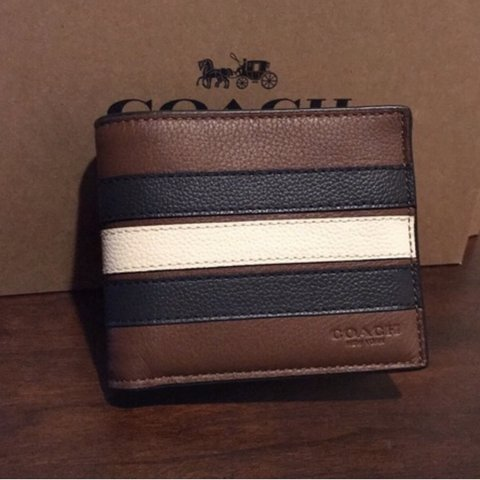df8af751299b NWT Coach F24649 Men Compact ID 3 IN 1 Wallet Varsity Stripe - Depop