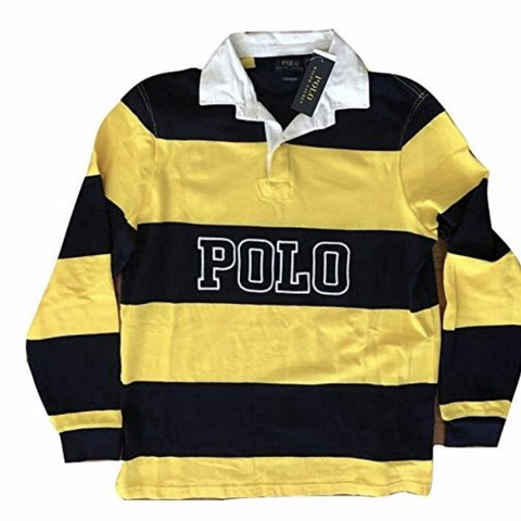 e7824a2c774 @daisywhite037. last month. Carlsbad, United States. Features: Polo Ralph  Lauren Classic Fit Yellow Blue Striped Long Sleeve Rugby Shirt