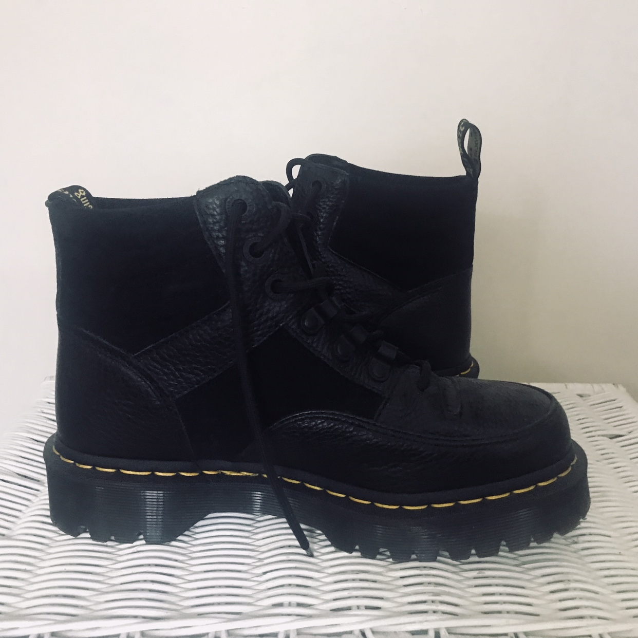 quality and quantity assured bright in luster fast delivery Dr Martens Zuma flat chunky leather boots BRAND... - Depop