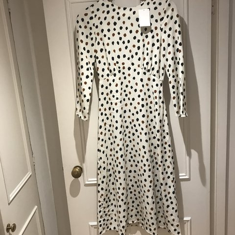 H M Cream Spotted Midi Dress Cut Out Open Back Brand New Depop