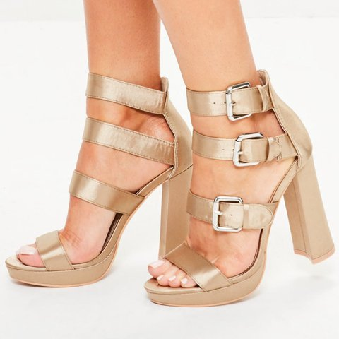 34152177744e Missguided nude platform gladiator heels Size 6 with on the - Depop