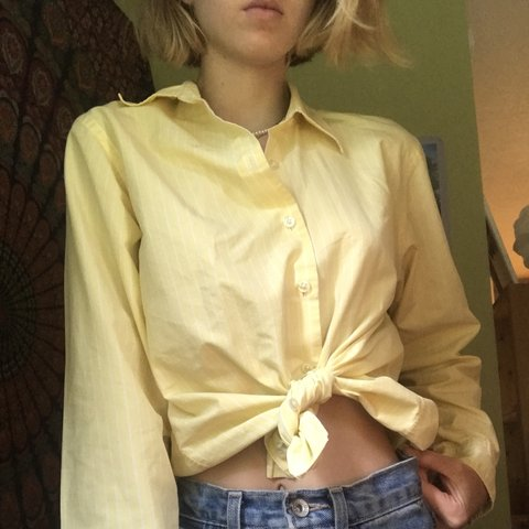 a4e01662 @hollysanders. last month. Burnsville, United States. Lands End yellow  striped button up shirt ☀️Fits like ...