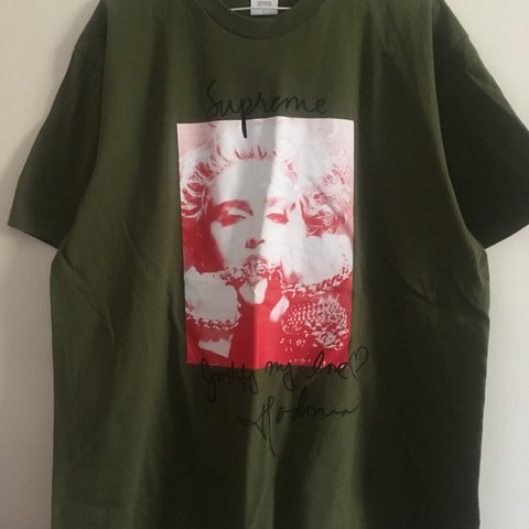 d5cff6c0e @deanp22. 6 months ago. Winchester, United Kingdom. Supreme Madonna Tee is  Olive colour. Size Large Very hyped item.