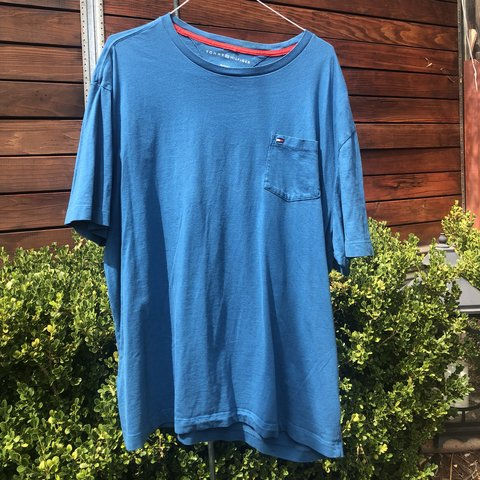 4abb0c77f Tommy Hilfiger Turquoise Tee🔥❗ Super rich blue color. in - Depop