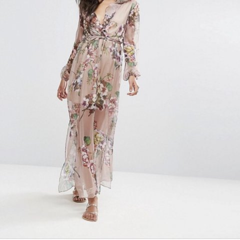 b495bd6b02c Floral printed maxi dress from boohoo. Long sleeve with v i - Depop