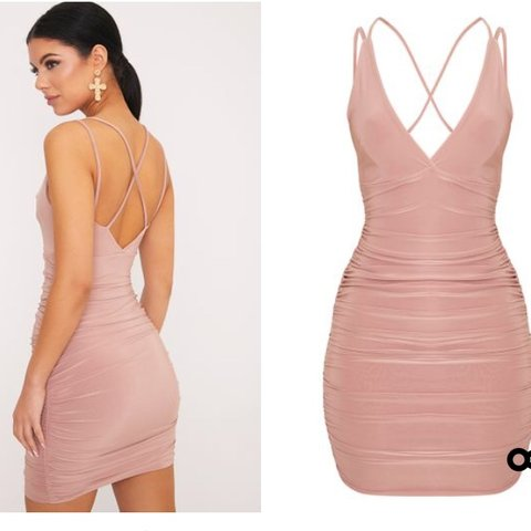 ff139c366b Slinky ruched blush pink bodycon dress. Perfect condition. - Depop