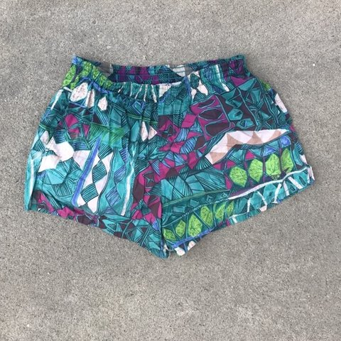 5ad6c37d57 @stylebysmith. last month. Lowell, United States. Vintage Speedo Abstract  Art Chubbies Swim Trunks ...