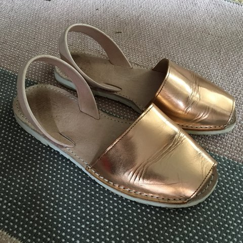 4821b4575ce Rose gold Ibiza sandals. Leather. Peep toe. Bought from a in - Depop