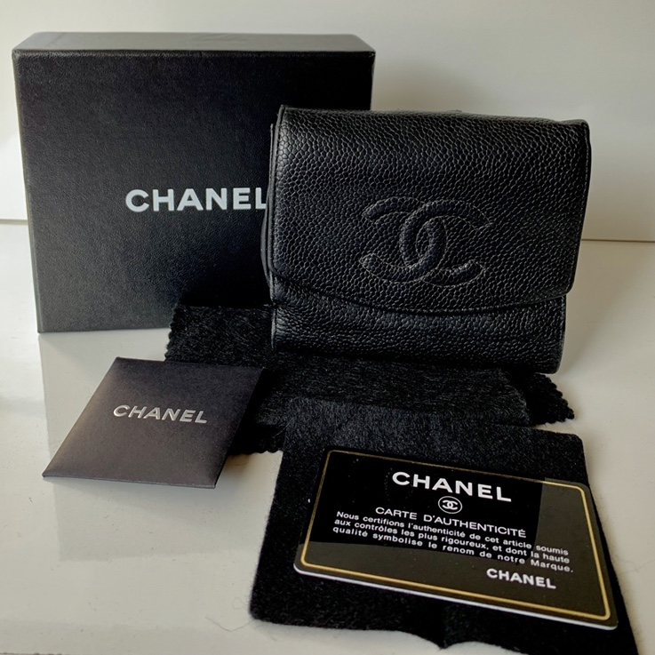 But Carte De Controle.Vintage Chanel Larger Sized Caviar Wallet Has Depop