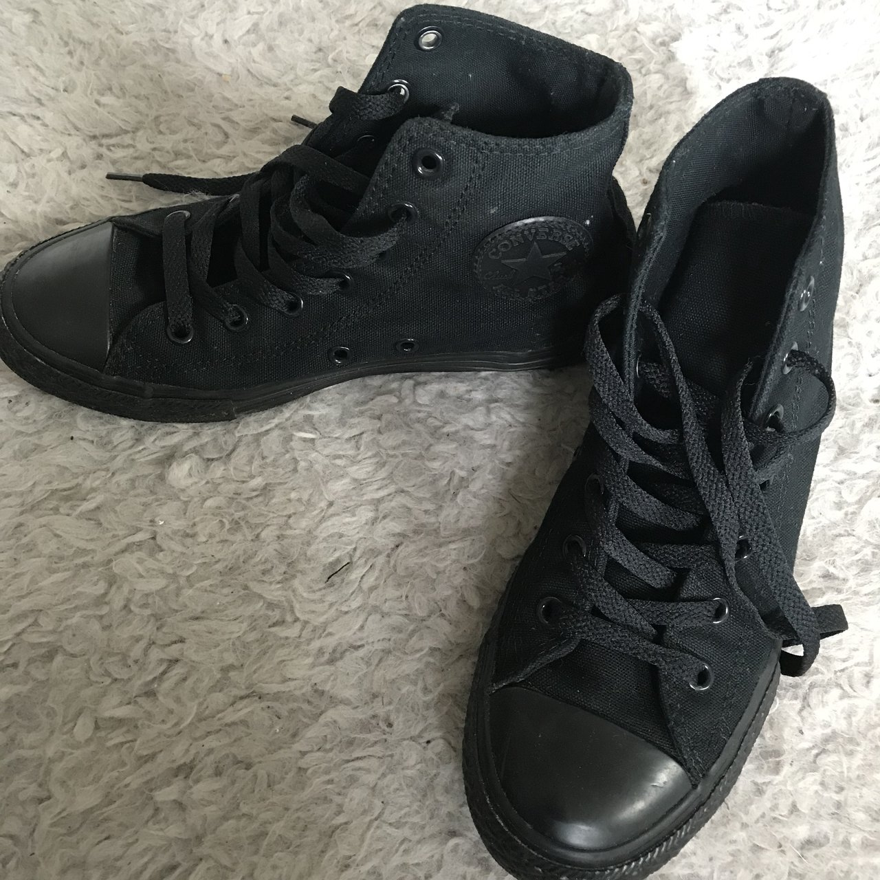 07f6bb1f3d2 Black High Top Converse Size 2 Only worn a couple of great - Depop