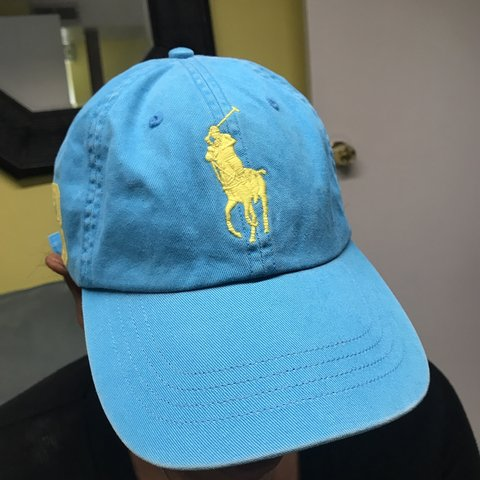 dcfc3893bda Ralph Lauren Polo baseball cap baby blue with yellow horse 3 - Depop