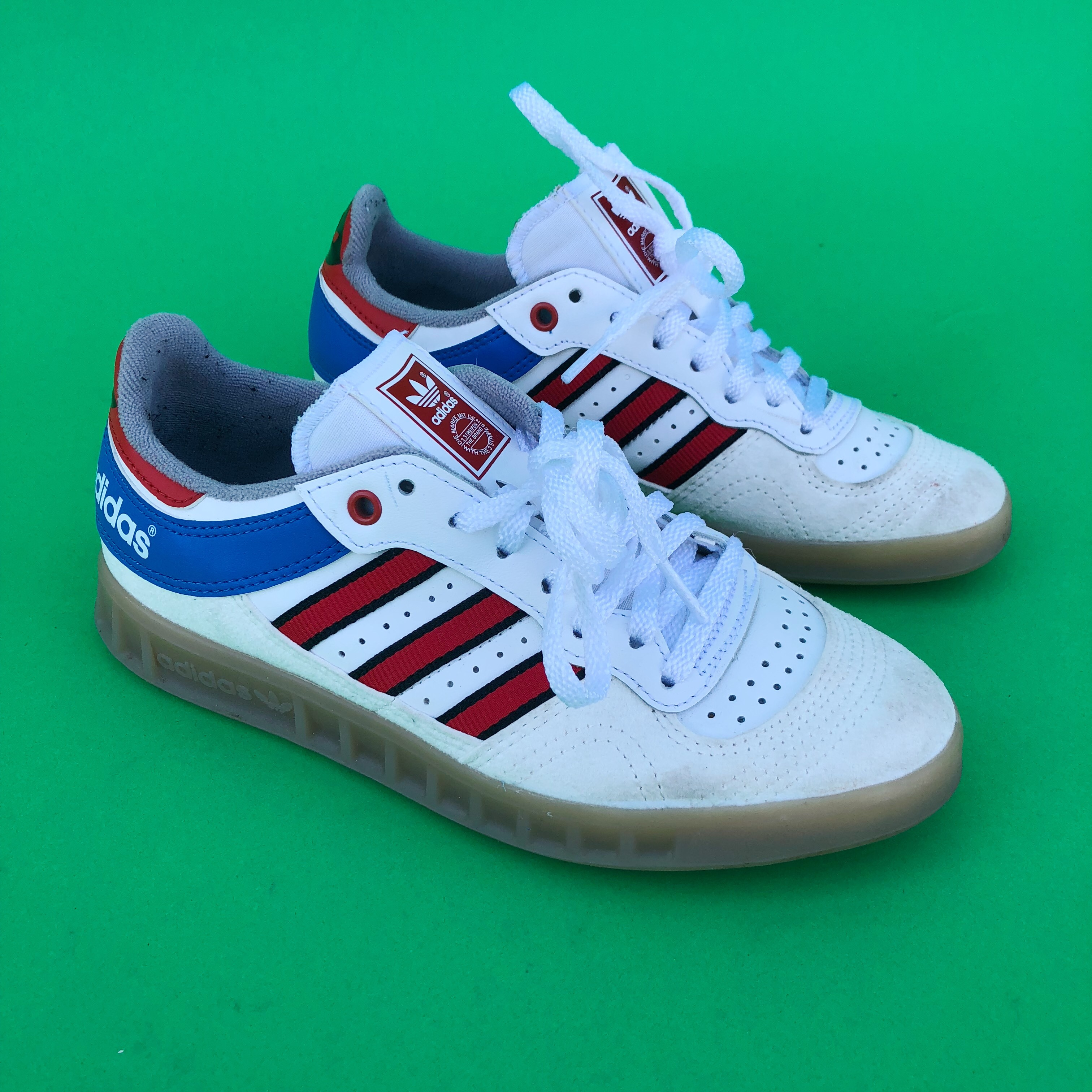 Adidas trainers. Red, white, blue