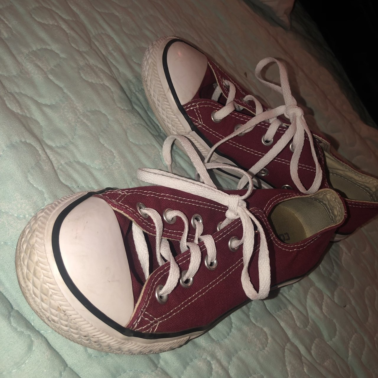 cc52a911495 Burgundy low top converse size 3 in kids hardly worn in new - Depop