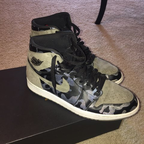 "0fbb665897fb Jordan 1 reflective camo ""SLIME 🐍 1s"" 9 10 condition - Depop"