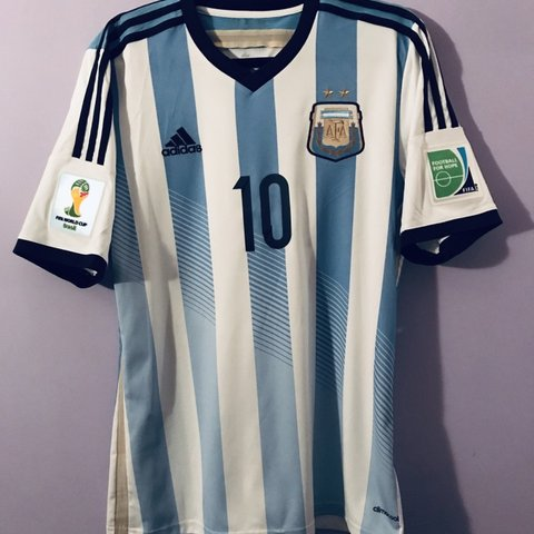 777f37b33be Original Argentina Home shirt used during the 2014 World Cup - Depop