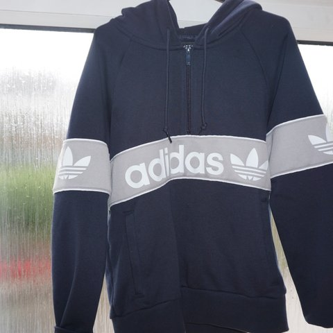 1fcd9687ae4 Adidas Originals Half Zip Hoodie. UK Size 4 but comes up so - Depop