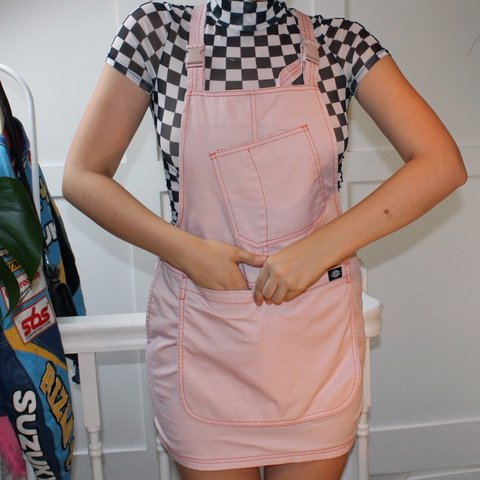 174f22a705 Dickies X urban outfitters salmon pink mini dress with handy - Depop