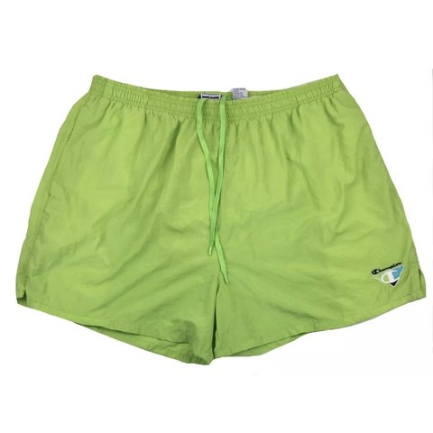 1ea9c9d93a Champion neon green swim trunks/ shorts. In good condition! - Depop
