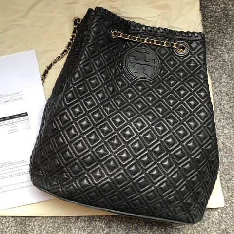 1c7677e2a7df Tory Burch Marion Quilted Leather Black Backpack with and in - Depop