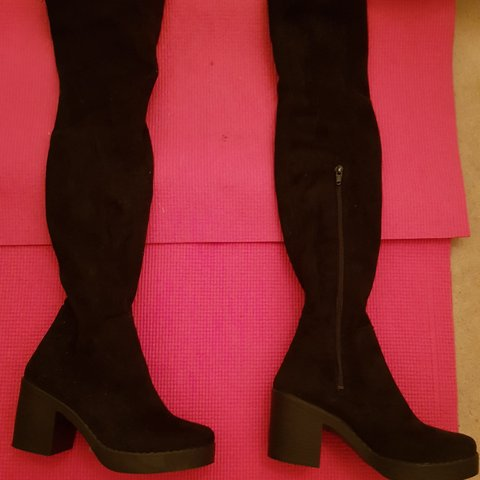 af391300418 Thigh high boots size 4 .bought them in top shop for 65 - Depop