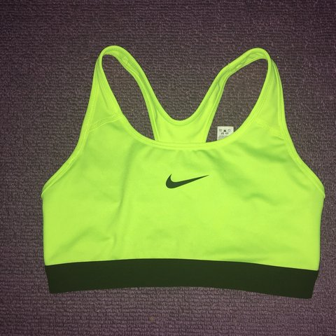 neon yellow nike sports bra