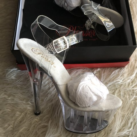 d76c39a271e Never worn Pleaser heels. 🌹 Size 8. Box Bag included. clear - Depop