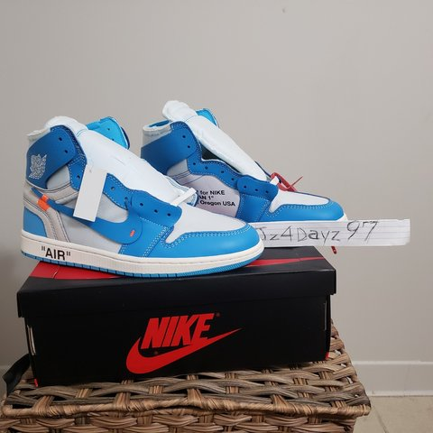 ce54b3c6c85d Nike Air Jordan Retro 1 Off-White UNC NRG SIZE 9 AND - Depop