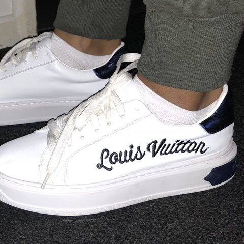 bc16669b6e93 UK Size 6 Louis Vuitton navy and white time out trainers a - Depop