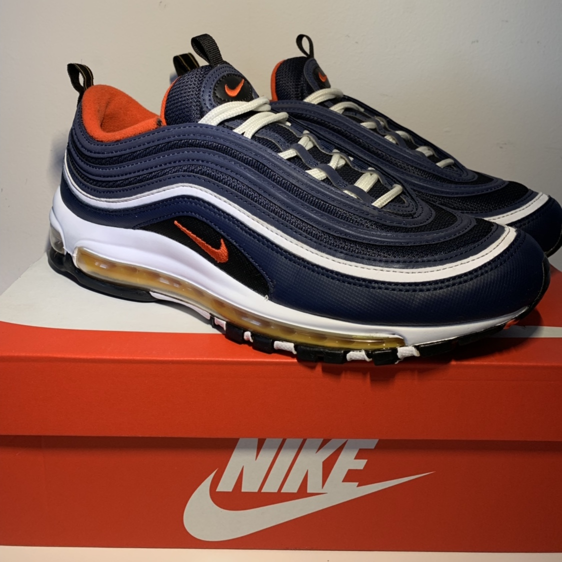 Mens Nike Air Max 97 Navy blue white Winter Sneakers NIKE ND011395