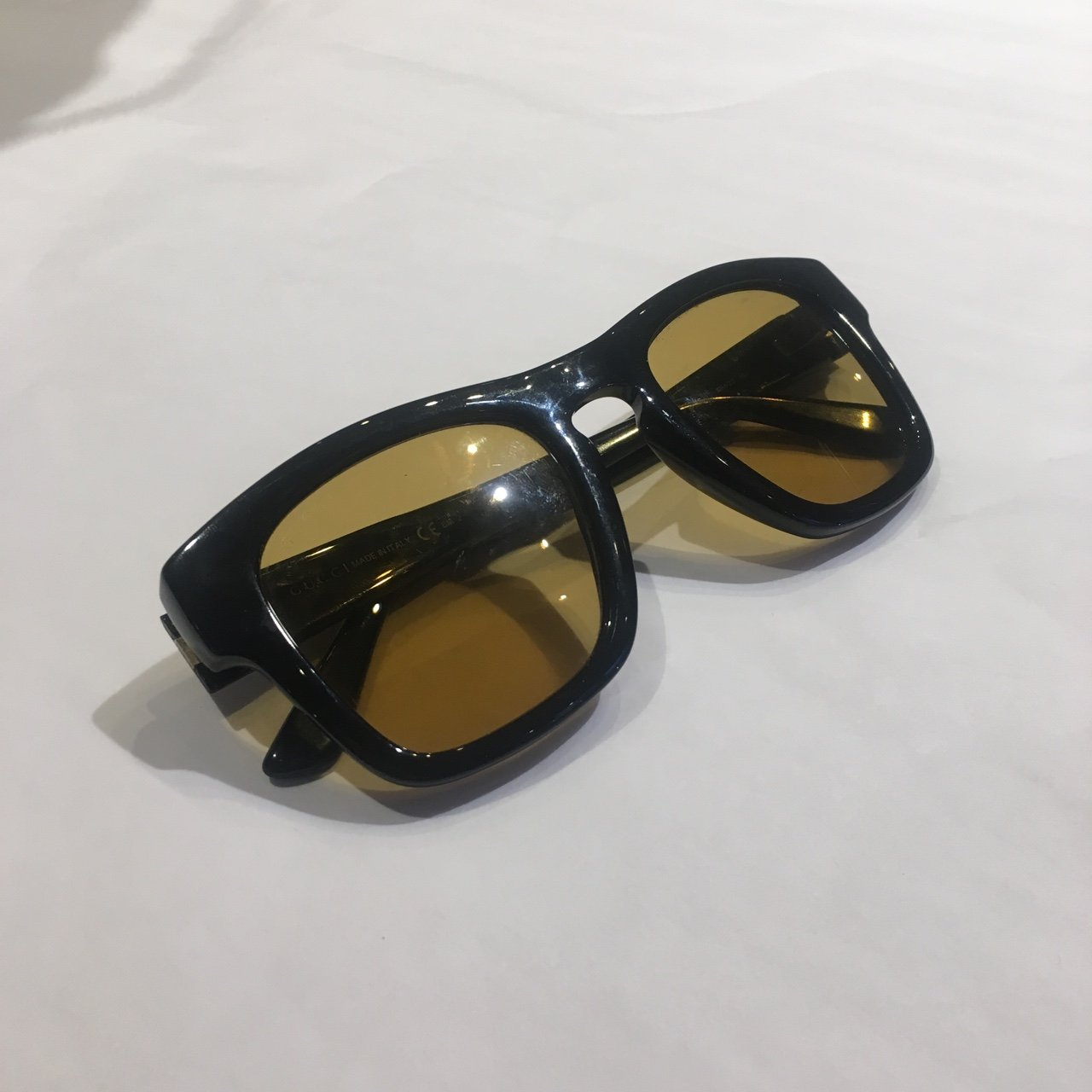 3759c839bfa GUCCI yellow tint sunglasses. Comes with Gucci logo case and - Depop