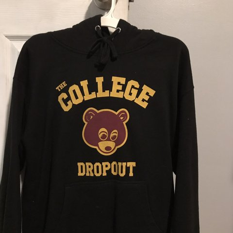 College Dropout Hoodie No Flaws At All Tags Heat Rap Hip Depop