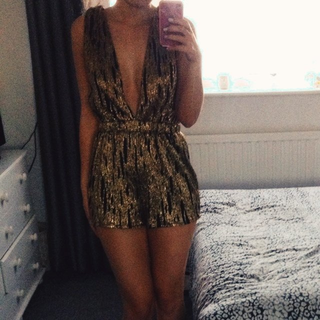 5bea85525e Asos deep plunge playsuit gold   black size 6