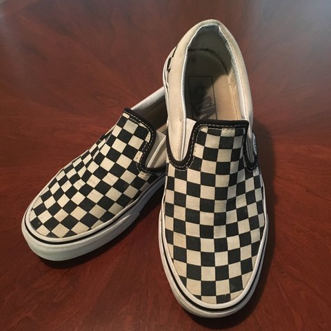 bd3fd9f87a78 Vans Black and White Checkerboard Slip Ons Size 6.5 Men