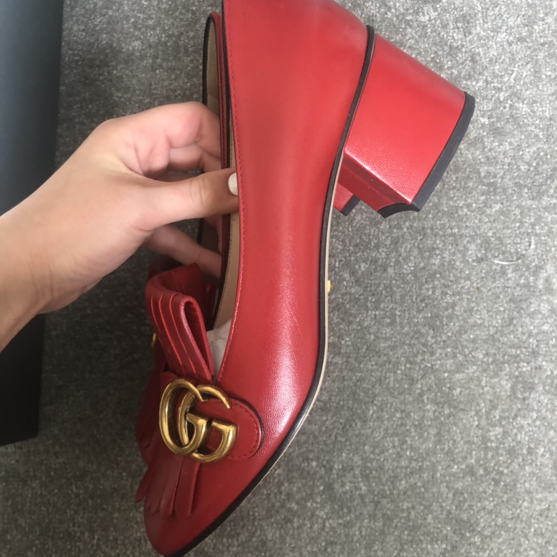 GUCCI MARMONT MID HEEL PUMP LOAFERS IN