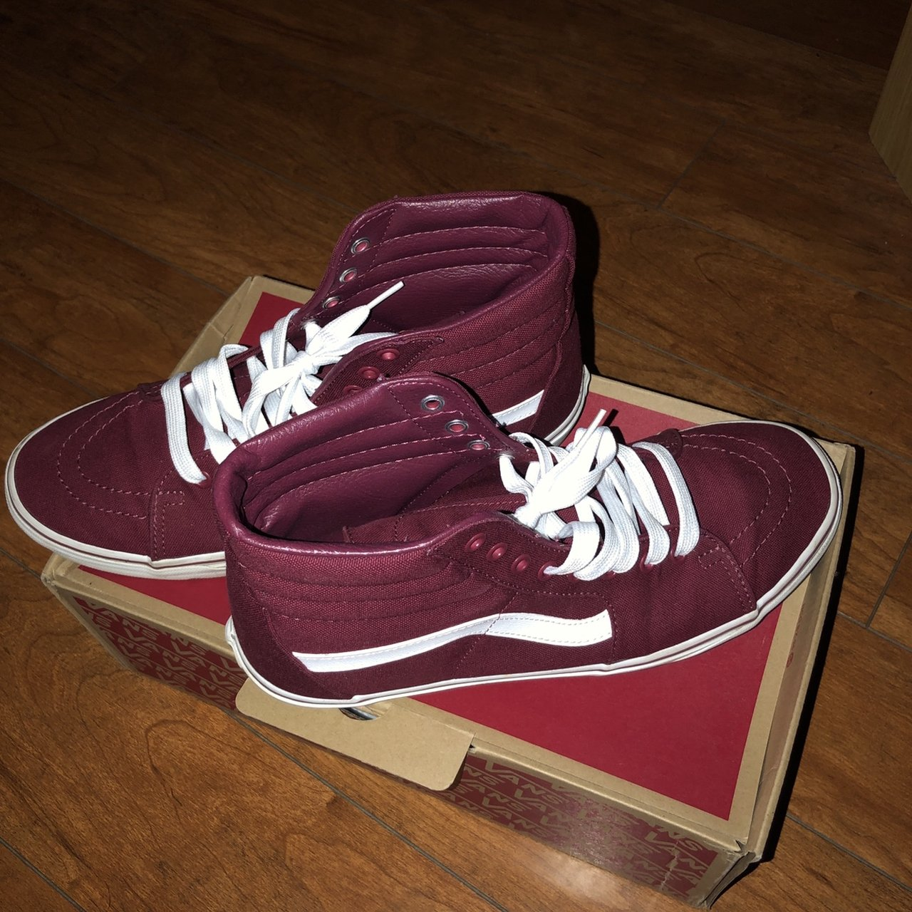 a2e50dc5a6 Burgundy sk8-hi vans. Worn less than 5 times. Comes with and - Depop