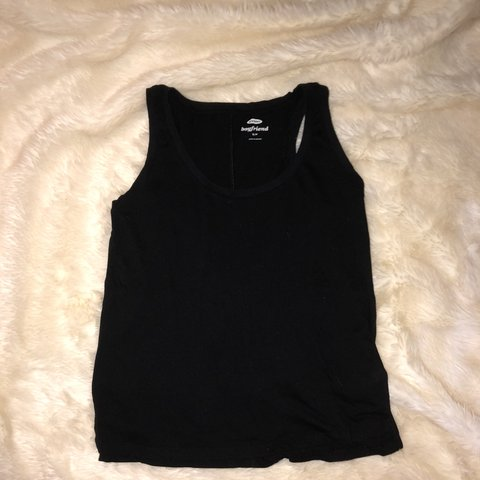 8ec0ac3bc121f2 plain black loose fitting tank top. worn but in good and no - Depop