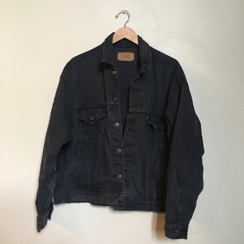 66bfc3e7 @aceastep. 2 years ago. Stockton, United States. Vintage black denim Levi's  trucker jacket. Excellent vintage condition. Perfectly worn in.