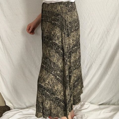 688741641 Vintage 90s rayon printed skirt. Full length button down up - Depop