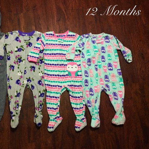 cd80fbce3 Bundle of 3 cute fleece footie pajamas. All are size 12 and - Depop