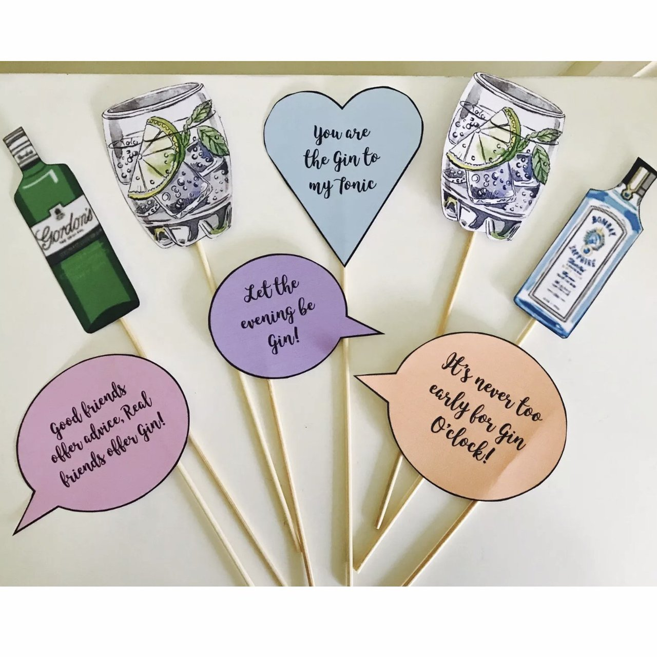Gin & Tonic Drink Quotes Photo Booth Selfie Props x8... - Depop