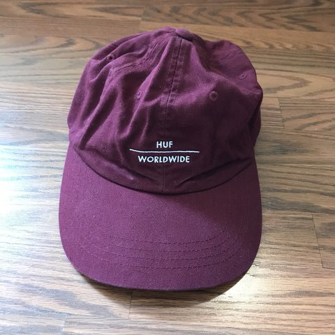 355fcd99709c92 HUF Worldwide Dad Hat Maroon - Depop