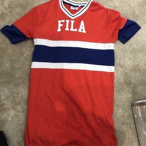 b2cd3f09 Red White And Blue Fila T Shirt Dress Mesh Panels On Both Depop